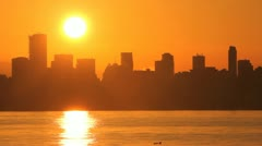 English Bay, Vancouver Skyline Sunrise Stock Footage