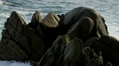 Powerful Waves Pounding Dangerous Rocks Slow Motion Stock Footage