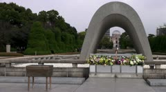Hiroshima Atomic Bomb Dome And Peace Park Memorial - stock footage