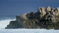 Powerful Waves Pounding Dangerous Rocks Slow Motion - stock footage