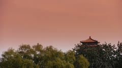 China Beijing ancient architecture & forest in sunset. Stock Footage