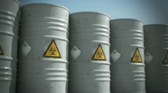 Radioactive barrel Danger disaster garbage sickness pollution environment  - stock footage
