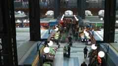 Inside View of Historic Great Market Hall Budapest - stock footage