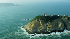 Aerial View Lighthouse Coastal Islands nr Hong Kong Stock Footage