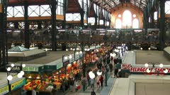 Wide angle shot of great market hall budapest - stock footage