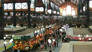 Wide angle shot of great market hall budapest Stock Footage