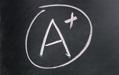 A  plus sign drawn with chalk on blackboard Stock Photos