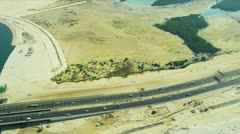 Aerial view desert expressway, Dubai Stock Footage