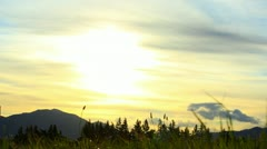 Sunset Behind the Mountains in New Zealand Stock Footage