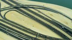 Aerial view desert expressway interchange  Dubai Stock Footage