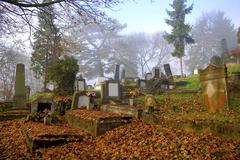 Stock Photo of beautiful graveyard in autumn