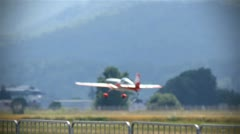 Aerobatic aircraft taking of making turns Stock Footage