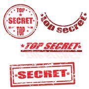 top secret stamp collection - stock illustration