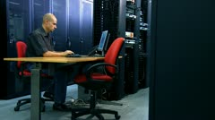 man and computer server - stock footage