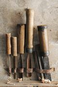 old chisels - stock photo