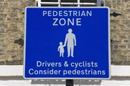 Stock Photo of pedestrian zone sign, england