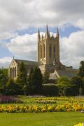 cathedral and abbey gardens, bury st edmunds - stock photo