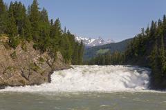 Bow river and falls, banff, alberta, canada Stock Photos