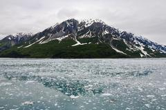 mountain, water, disenchantment bay, alaska, usa - stock photo