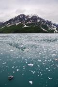 Mountain, sea, sky, disenchantment bay, alaska, usa Stock Photos