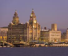 Liver Building, Liverpool waterfront - stock photo