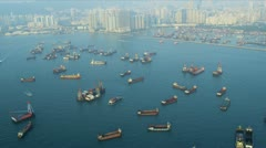 Aerial View Nautical Vessels Hong Kong  Stock Footage