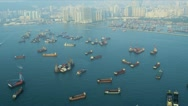 Stock Video Footage of Aerial View Nautical Vessels Hong Kong
