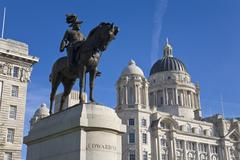 Stock Photo of statue of edward v11 at liverpool waterfront, merseyside, england