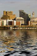 skyline and waterfront, liverpool - stock photo