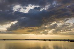 Sunset over water at west kirby, wirral, england - stock photo