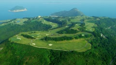 Aerial View Coastal Vacation Golf Course Hong Kong  Stock Footage