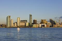 Liverpool skyline and river mersey - stock photo