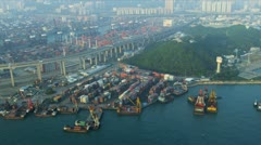 Aerial View Stonecutters Road Bridge, Hong Kong Stock Footage