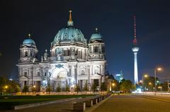 Stock Photo of dome and tv tower in berlin at night
