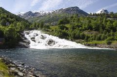 Stock Photo of Norway - Waterfall In Hellesylt