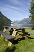Norway - Hellesylt - Travel destination for cruise ships - stock photo