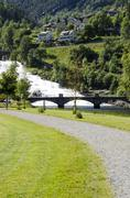 Stock Photo of Norway-Hellesylt -Waterfall and village