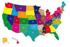 Color map of usa Stock Illustration