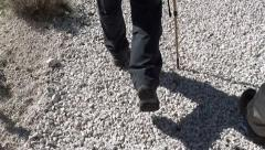 Walking feet one walking stick Stock Footage