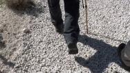 Walking feet one walking stick Stock Footage