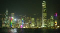 Hong kong victoria harbour at night Stock Footage