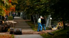 Cinegrapher builder leaves tree machine building industry autumn cinematograp Stock Footage
