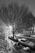 Snow in harlem manhattan new-york black & white Stock Photos