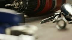 DIY tools on table Stock Footage