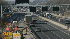 roadworks on the m62 motorway leeds yorkshire united kingdom - stock footage