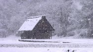 Stock Video Footage of Shirakawago Barn And Falling Snow