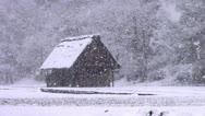 Stock Video Footage of Shirakawago Barn And Falling Snow
