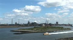 A Beautiful Day In The Industrial Port Of Ijmuiden Stock Footage