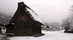 Shirakawago Barn And Houses In Falling Snow Stock Footage