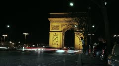 Night traffic at Arc de Triomphe. - stock footage